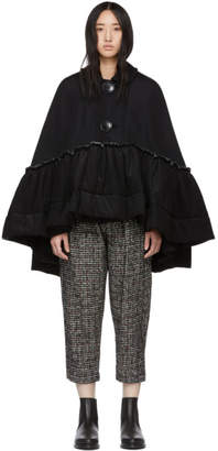 Comme des Garcons Black Ruffled Hem Cape Coat
