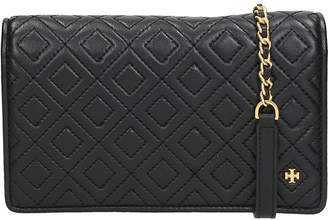 Tory Burch Black Leather Fleming Flat Wallet Cross-body Bag