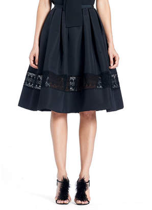Carolina Herrera Full Silk Faille Cocktail Skirt with Lace Inset
