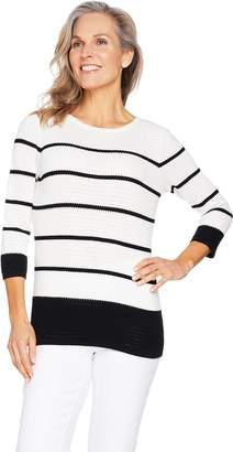 Susan Graver Cotton Rayon Nylon Striped Sweater