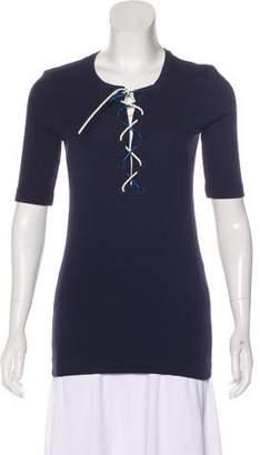 Sonia Rykiel Lace-Up Short Sleeve Top