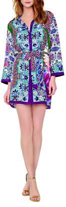 Gottex Long Sleeve Silk Shirt Dress $328 thestylecure.com