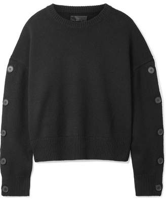 Nili Lotan Martina Embellished Wool And Cashmere-blend Sweater - Black
