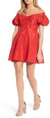 Topshop Taffy Puff Sleeve Off the Shoulder Dress