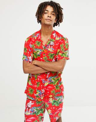 6f70bf44 Asos Design DESIGN Co-ord christmas relaxed surfing santa printed shirt in  red