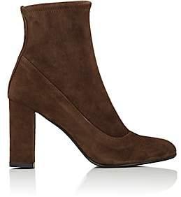 Barneys New York WOMEN'S BLOCK-HEEL SUEDE ANKLE BOOTS-DK. BROWN SIZE 5