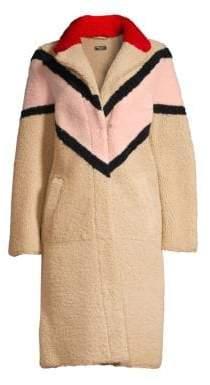 Anne Vest Freja Shearling Chevron Stripe Coat