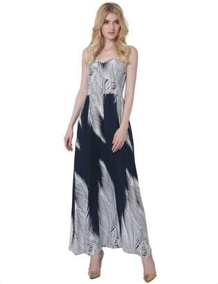 VONYOG Women's Striped Spaghetti Strap Maxi Dress Sleeveless Print Casual Type M