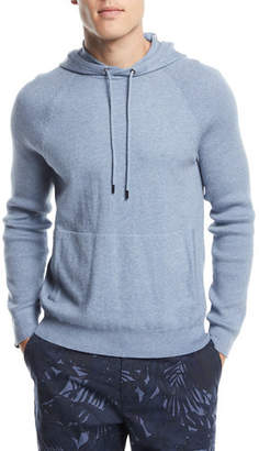 Michael Kors Mixed Textured-Knit Cotton/Cashmere Athleisure Hoodie