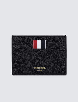 Thom Browne Pebble Grain and Calf Leather Single Card Holder with RWB Diagonal Stripe