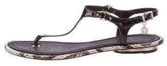 Brian Atwood Patent Leather Thong Sandals