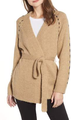 Moon River Contrast Stitch Belted Cardigan