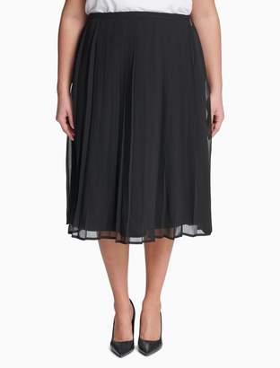 Calvin Klein plus size pleated semi-sheer skirt