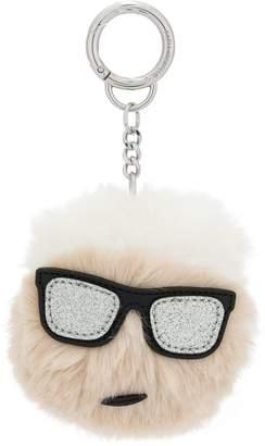 Karl Lagerfeld Iconic Lagerfeld furry keychain
