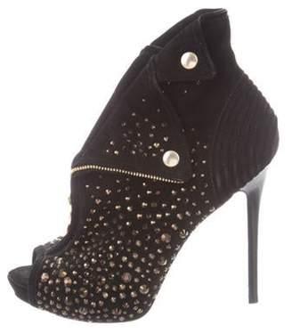 Alexander McQueen Embellished Peep-Toe Booties Black Embellished Peep-Toe Booties