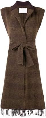 Fabiana Filippi belted sleeveless cardi-coat