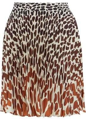 Marco De Vincenzo Printed Pleated Satin-Twill Mini Skirt