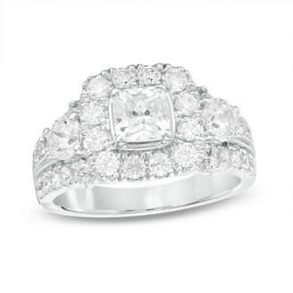 Zales Celebration GrandA 2 CT. T.W. Cushion-Cut Diamond Three Stone Frame Engagement Ring in 14K White Gold