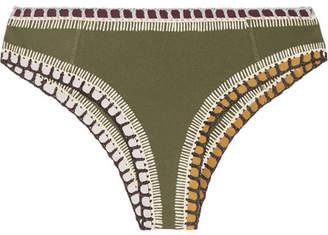 Kiini Wren Crochet-trimmed Bikini Briefs - Army green