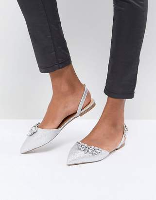 Head Over Heels by Dune Flat Pointed Shoe in Silver with Embellishment