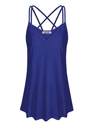 ZKHOECR Summer Tank Tops for Women Casual Wear V-Neck Sleeveless Spaghetti Strap Cami Loose Blouse Flattering Fit Dressy Long Boutique Camisole Clothing for Petite Navy S