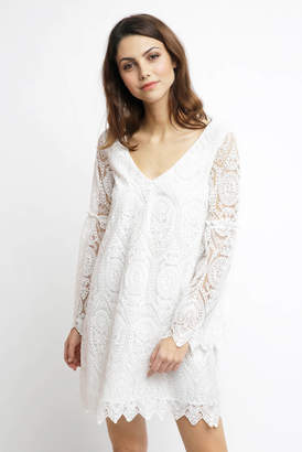 Cupcakes & Cashmere Davi Embroidered Lace Bell Sleeve Dress