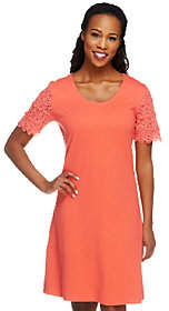 Liz Claiborne New York Petite Lace SleeveT-Shirt Dress