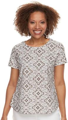 Croft & Barrow Petite Textured Floral Scoopneck Tee
