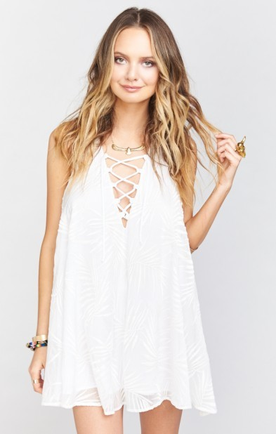 Rancho Mirage Lace Up Tunic Dress ~ Leafy Luxe White