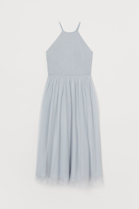 H&M Bead-embroidered Dress - Turquoise