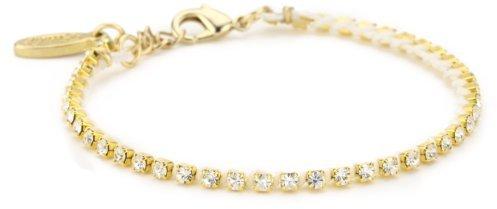 Ettika Gold Colored Rhinestone Crystal Chain White Tennis Bracelet