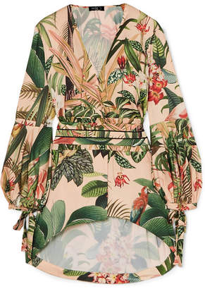 PatBO Paradise Belted Printed Stretch-crepe Top - Pink