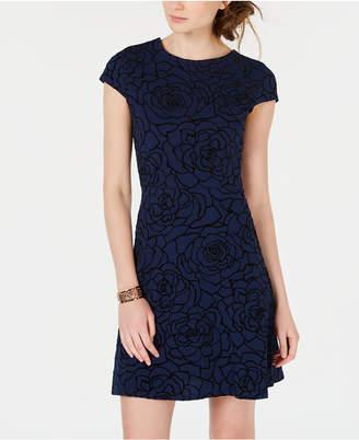 Teeze Me Juniors' Floral-Print Cutout Dress