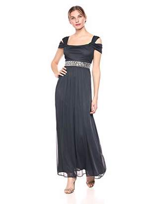 Alex Evenings Women's Cold-Shoulder Dress (Petite and Regular), Dark Grey