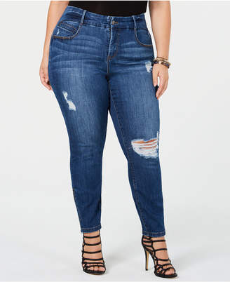 Ysj Plus Size Distressed Skinny Zip-Ankle Jeans