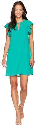 Vince Camuto Chiffon Float with Ruffle and Keyhole Women's Dress