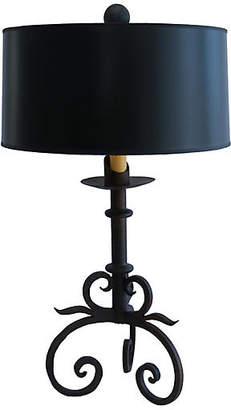 One Kings Lane Vintage Rustic Hand-Forged Iron Table Lamp - Fleur de Lex Antiques