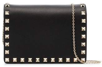 Valentino black Rockstud studded leather wallet on a chain