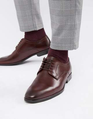 Asos DESIGN lace up shoes in burgundy leather
