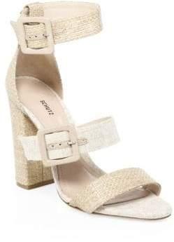 Schutz Sarah Raffia Ankle-Strap Sandals