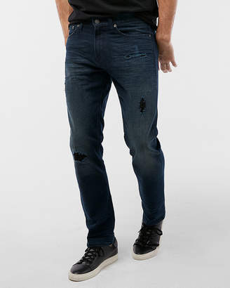 Express Slim Dark Wash Destroyed Stretch Jeans