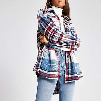 River Island Blue check embellished overshirt