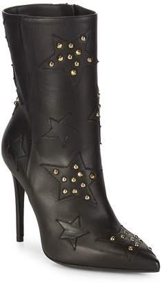 Aperlaï Women's Velukid Nero Stelle Star Stud Stiletto Boots