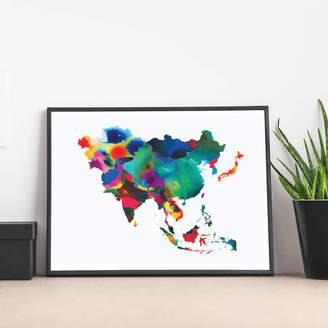 Polly Taylor Designs 'Asia Map' Fine Art Giclée Print