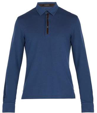 Ermenegildo Zegna Suede Trimmed Long Sleeve Polo Shirt - Mens - Blue