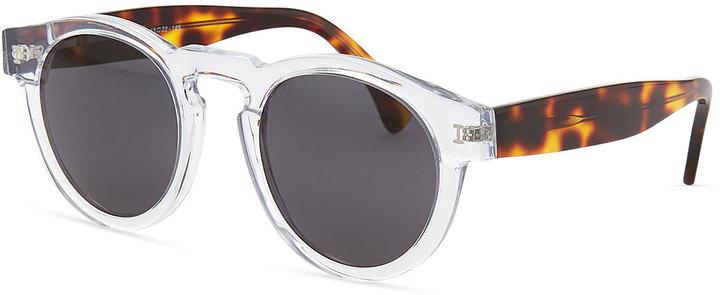 Illesteva Leonard Round Sunglasses, Clear/Havana