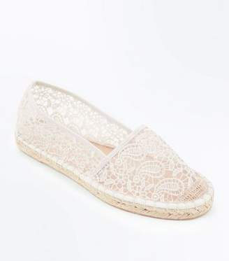 New Look Wide Fit Cream Crochet Espadrilles