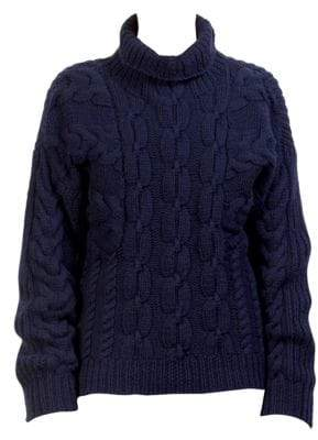 Cédric Charlier Wool Cable-Knit Turtleneck Sweater
