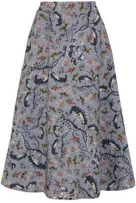 Erdem Tiana Floral-Print Matelassé Midi Skirt