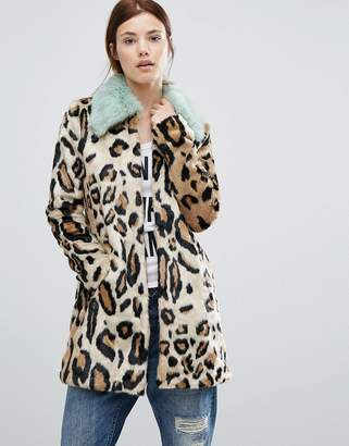 Urban Code Urbancode Faux Fur Leopard Print Coat With Faux Fur Collar